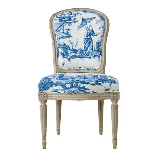 18th Century French Side Chair Upholstered in Schumacher Fabric
