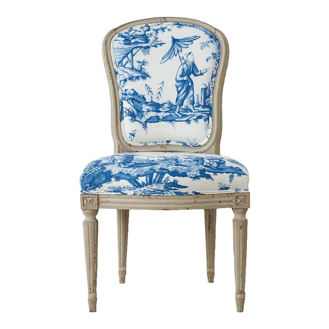 18th Century French Side Chair Upholstered in Schumacher Fabric For Sale