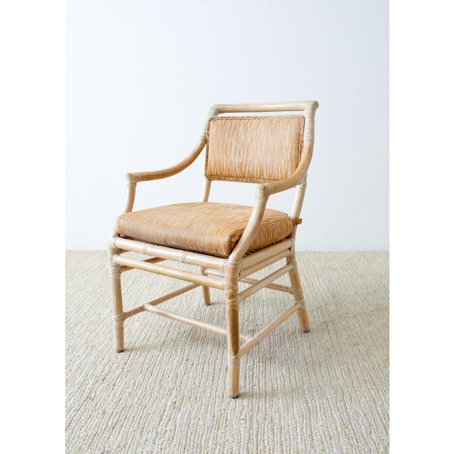 McGuire Cerused Rattan Dining Chairs- Set of 9 For Sale - Image 11 of 13