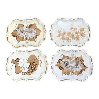 20th Century Cottage Hand Painted Tole Trays - Set of 4