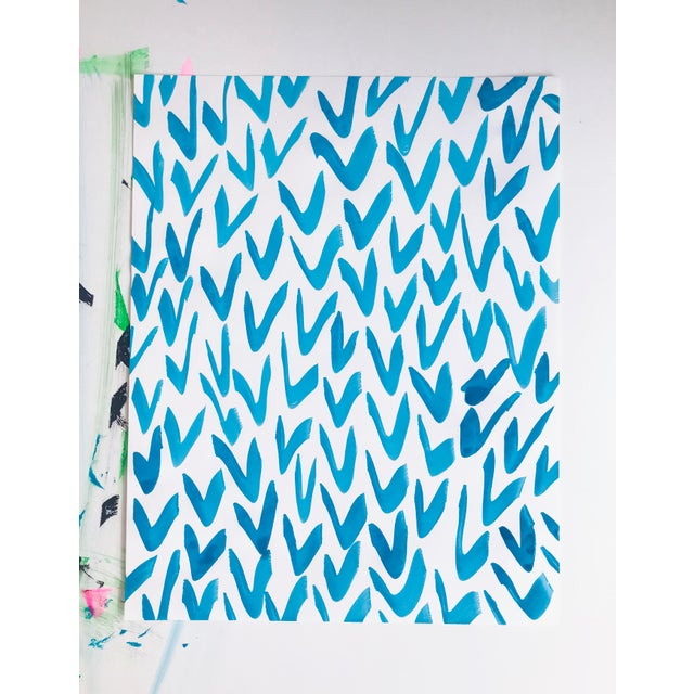 2010s Contemporary Blue and White Pattern Painting For Sale - Image 5 of 5