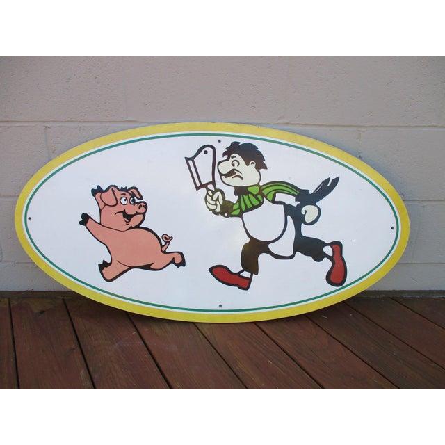 Vintage Wood Pig & Butcher Sign - Image 2 of 9