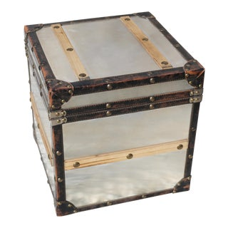 Pottery Barn Metal, Wood and Leather Riveted Storage Trunk Table For Sale
