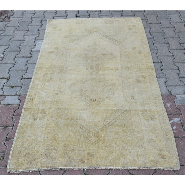 Distressed Turkish Handmade Vintage Beige Rug -3′8″ × 6′1″ - Image 2 of 8