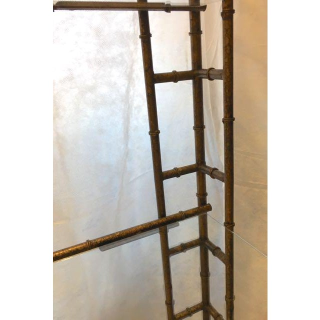 Mid-Century Modern Brass Faux Bamboo Etagere For Sale - Image 9 of 10