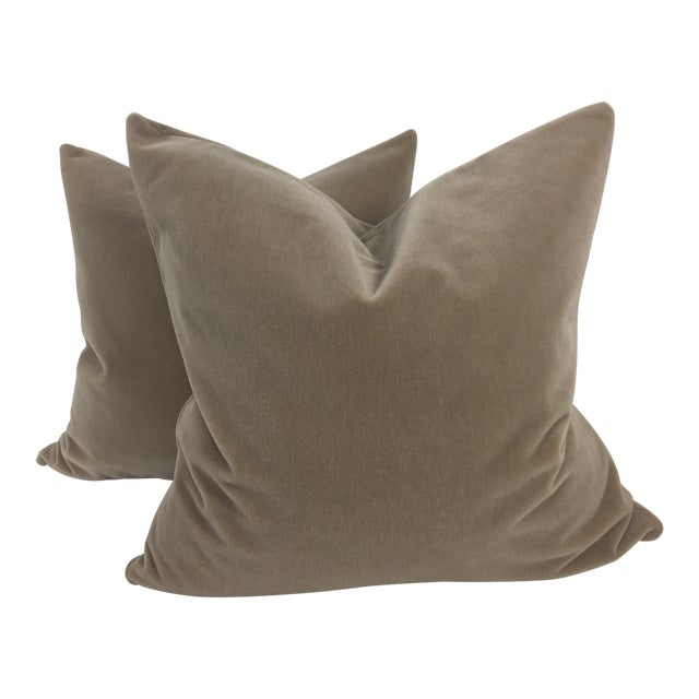 Taupe Mohair Pillows - a Pair For Sale