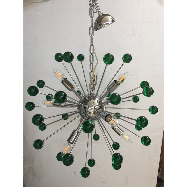 Glass Emerald Green Murano Glass Chandelier in Sputnik Style With a Chrome Base For Sale - Image 7 of 11