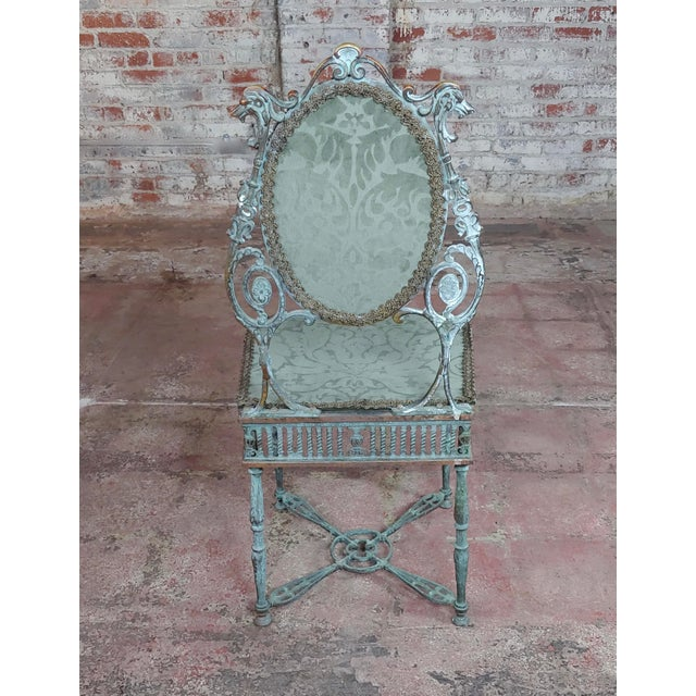American Classical 19th Century Bronze Vanity Chair W/ Lions Heads For Sale - Image 3 of 10