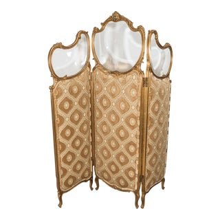 French Art Nouveau Gilt Wood Trifold Room Screen With Beveled Glass For Sale