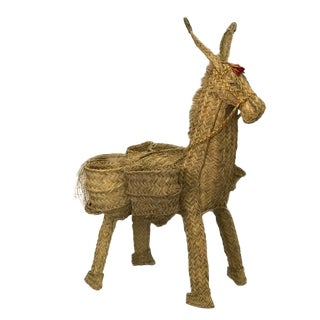 Artisan Crafted Straw Donkey Basket For Sale