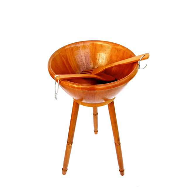 Mid-Century Danish Modern Teak Freestanding Salad Bowl Stand & Utensils For Sale In Los Angeles - Image 6 of 9