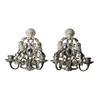 Caldwell Silver Plated Sconces - a Pair For Sale