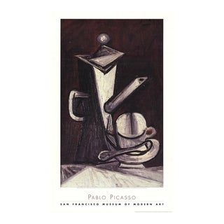"""Pablo Picasso Still Life """"The Coffee Pot"""" 37"""" X 22.5"""" Poster 1998 Cubism Black & White, Gray Cup, Spoon For Sale"""