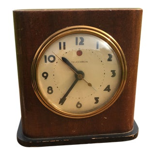 1930s Art Deco Wood Desk Clock
