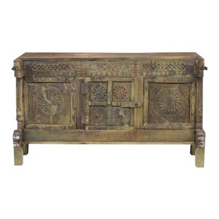 Antique Rustic Damachiya Chakra Cabinet For Sale