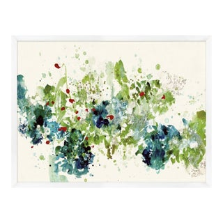 Abstract Green, Blue and Red Print, Framed For Sale