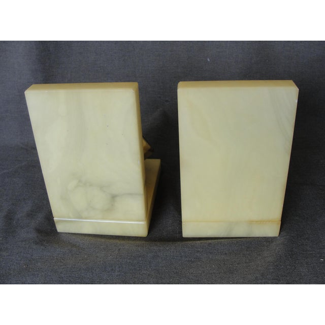 Vintage Italian Hand Carved Alabaster Cube Bookends A