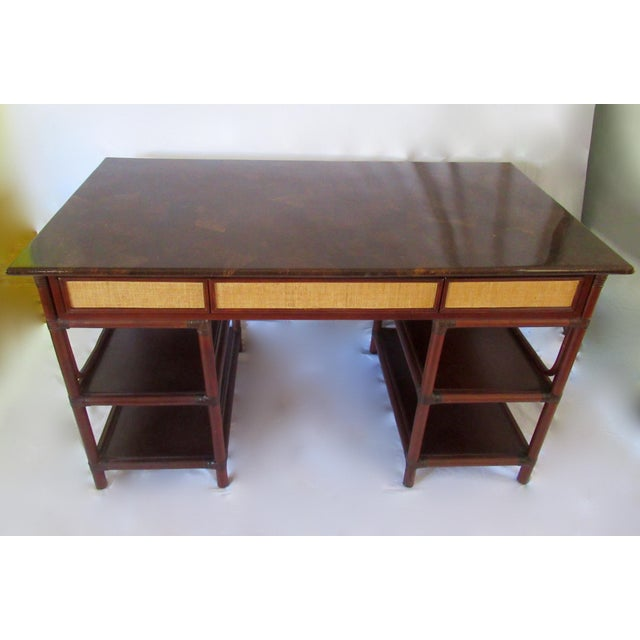 African 1970s British Colonial-Style Rattan Tobacco Leaf Top Writing Desk For Sale - Image 3 of 13