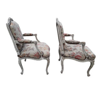 Pair French Needlepoint Bergeres Antique Pair of Shabby French Country Armchairs Preview