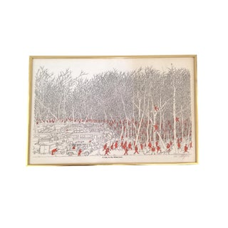 "Signed Vintage Framed Illustration ""a Day in the Wilderness"" by Bruce Johnson - Artist Signed Art Print For Sale"