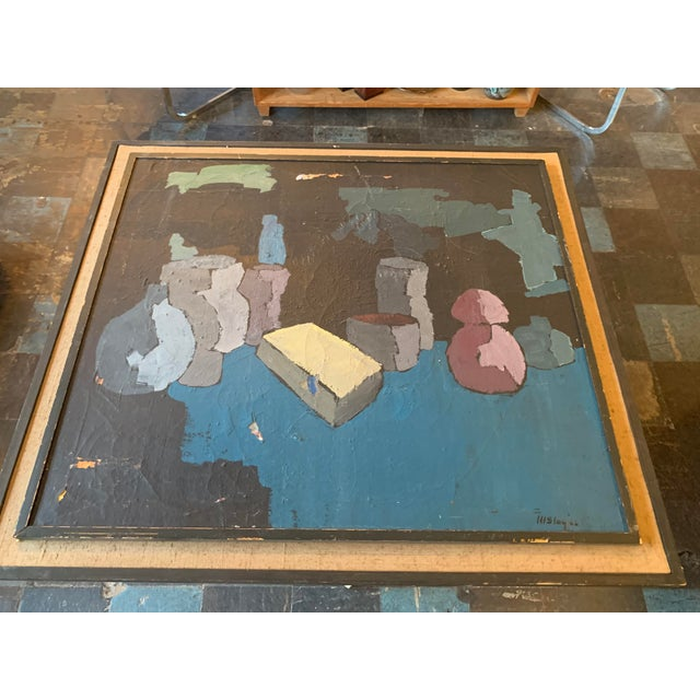 Stunning abstract with beautiful colors and great scale! Made in the 1960s.