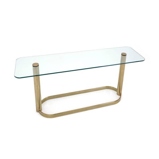 Modern Pace Collection Glass Console/Sofa Table, Brass Base Nice Patina For Sale - Image 3 of 7