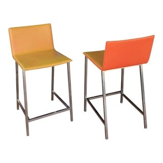 Mid-Century Modern Leather and Chrome Barstools - a Pair For Sale