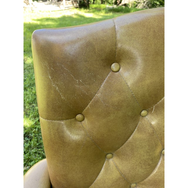 Tan Vintage Executive Tufted Leather Swivel Office Desk Chair For Sale - Image 8 of 13