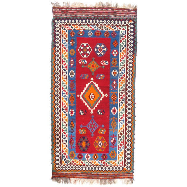"Pasargad Ny Antique Persian Shiraz Kilim Rug - 4'6"" X 9'6"" For Sale"