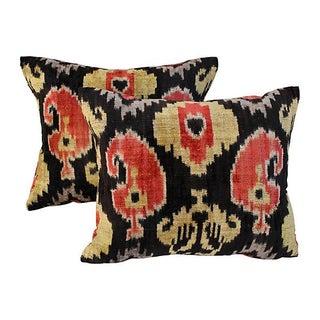Art Deco Silk Velvet Ikat Pillows - Pair For Sale