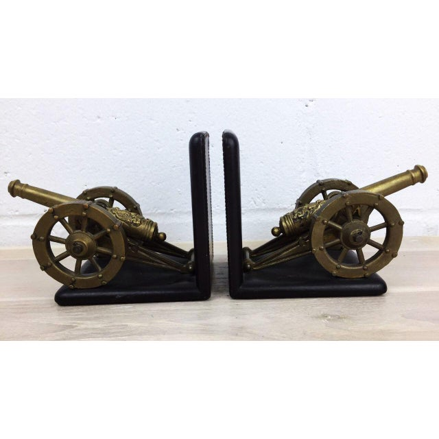 Antique Artillery French Leather & Bronze Bookends - A Pair - Image 2 of 11