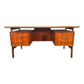 Vintage Danish Mid-Century Modern Teak Desk Model 75 by Gunni Oman for Omann Jun For Sale