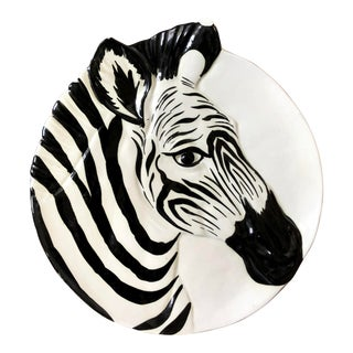 Mid 20th Century Italian Pottery Zebra Plate For Sale