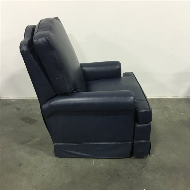 Navy Blue Swivel Recliner by Leathercraft - Image 3 of 10