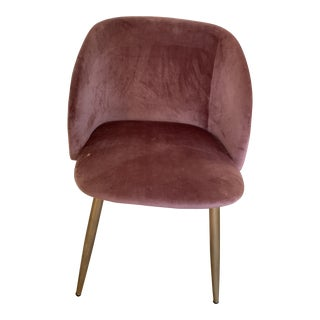 Pink Velvet Upholstered Accent Chair For Sale