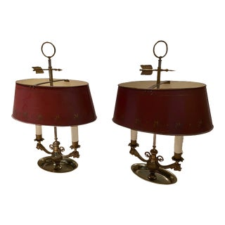 Antique Tole and Brass Dolphins Lamps, France - a Pair For Sale