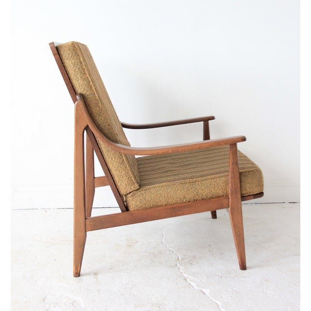 Vintage Mid Century Striped High Back Lounge Chair - Image 3 of 6