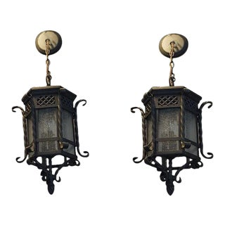 Small Hanging Lanterns - A Pair For Sale
