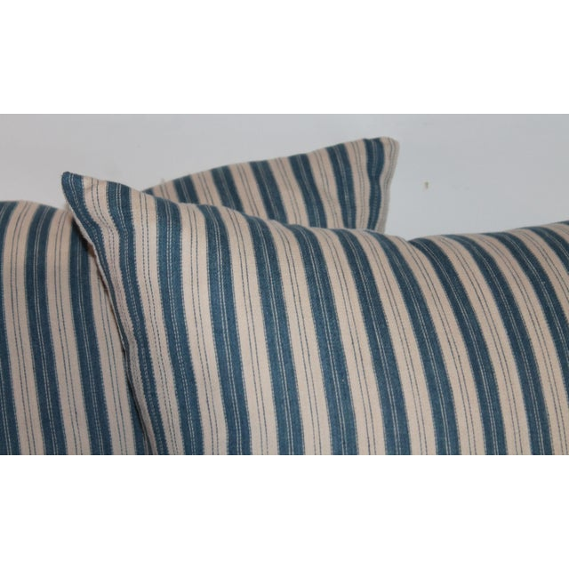 Rustic Striped Ticking Pillows - A Pair For Sale - Image 3 of 6