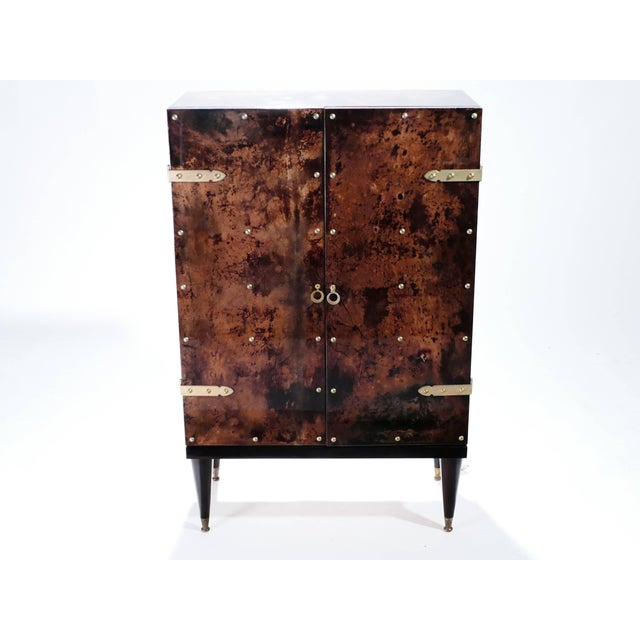 1960s Bar Cabinet in Goatskin Parchment by Aldo Tura, 1960s For Sale - Image 5 of 12