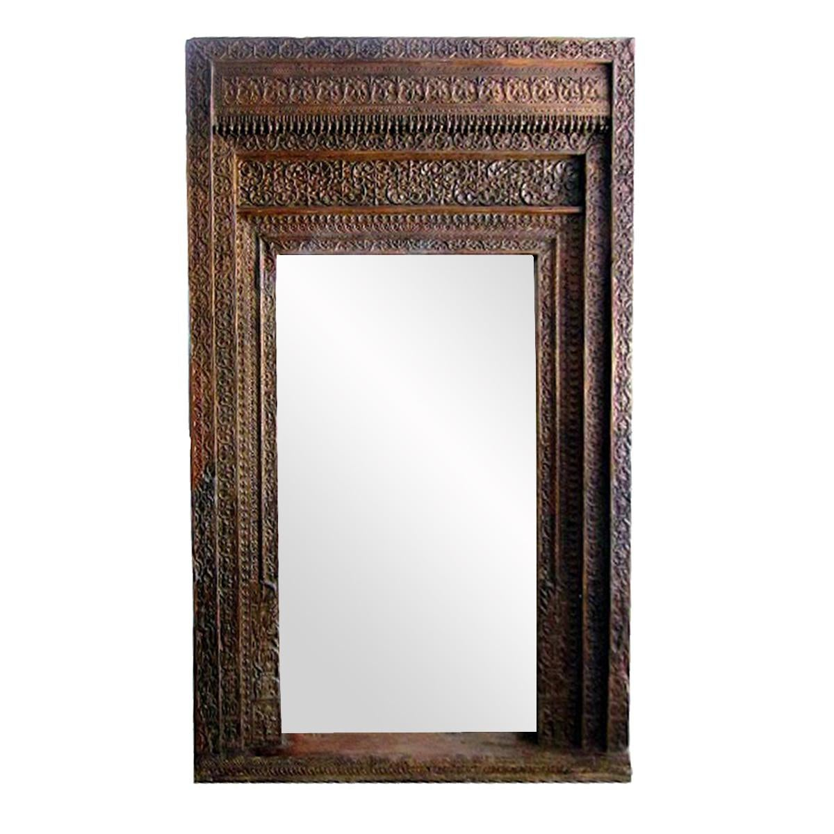 Great Vintage Old Door Mirror Frame. Carved Wood Doorway Repurposed Into A Full  Length Mirror Frame