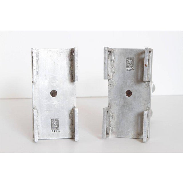 Pair of Machine Age Hand-Wrought Aluminum Palmer Smith Candlestick Holders For Sale - Image 9 of 11