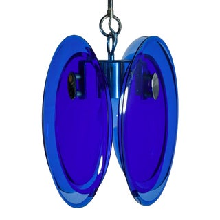 Fontana Arte Blue and Chrome Chandelier For Sale