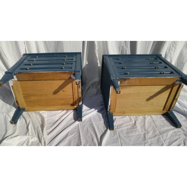 Mid-Century Blue Nightstands - A Pair - Image 9 of 10