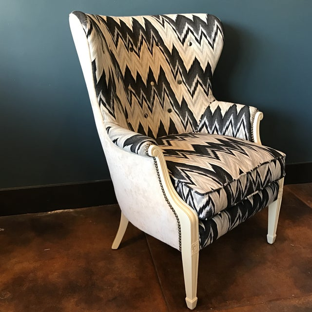 Custom Brass Tacked Wingback Chair - Image 2 of 9