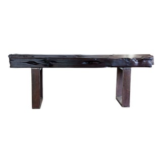 Modern Organic Natural Edge Yakisugi Black Wood Bench