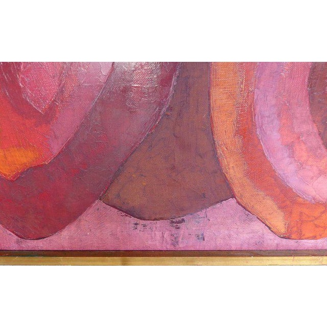 Abstract Oil Painting Madrid 1961 By Important Spanish Artist Luis Quintanilla