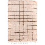 Image of Contemporary Moroccan Hand-Knotted Cream and Brown Wool Rug - 4′1″ × 6′2″ For Sale