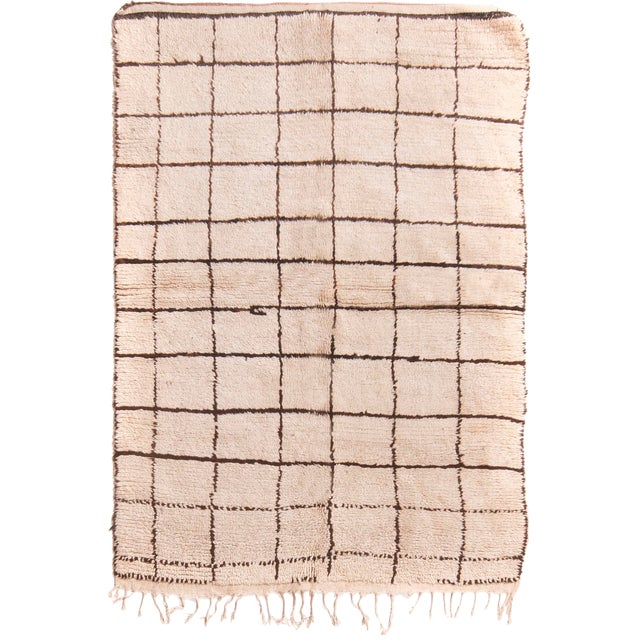 Contemporary Moroccan Hand-Knotted Cream and Brown Wool Rug - 4′1″ × 6′2″ For Sale
