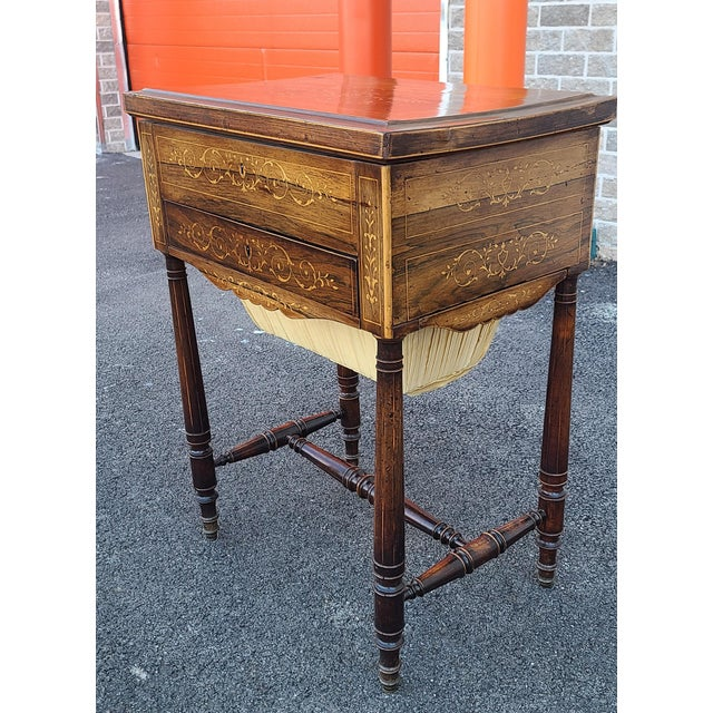 Antique English Regency Inlaid Rosewood 19th Century Sewing Work Table C1890 For Sale - Image 12 of 13